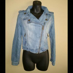 Jou Jou Denim Moto Jacket - Distressed - Size S